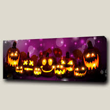 Huis Premier <b>Halloween LED</b> Canvas Pumpkin <b>Scene</b> Picture Wall ...