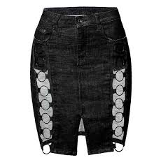 <b>Female</b> Pearl Package Hip Irregular Pearl <b>Denim Skirt</b> Large Size ...