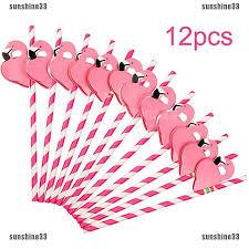 <b>12PCS</b> Paper <b>Birthday Party</b> Funny <b>Flamingo</b> Honeycomb Striped ...