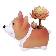 <b>Cute Happy</b> Corgi Gardener Pot DIY Gardening <b>Flower</b> Resin Pets ...