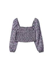Shirred <b>floral</b> print top - PULL&BEAR