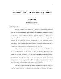 THE EFFECT OF EXTRACURICULLAR ACTIVITIES CHAPTER I INTRODUCTION     Background Basically  teaching and learning     SlideShare