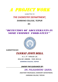 a project work on detection of adulterants in some common food a project work on detection of adulterants in some common food stuff pdf available