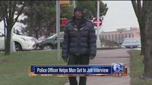 employment com video police officer helps man get to job interview