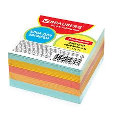 <b>Блок для записей BRAUBERG</b> проклеенный, 9х9х5 см, цветной ...