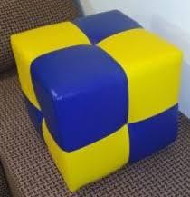 <b>Пуф Рио</b> синий с желтым,пуфик,пуфики,пуф кожзам,пуф экокожа ...