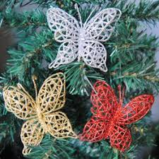 5Pcs Festival Decrotion Artificial Butterfly Christmas Tree ... - Vova