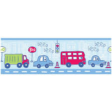 wall borders girls allmultiborder  beep beep cars and vehicles  inch wallpaper border m bor