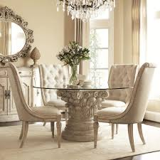 transparent glass dining furniture carved white wooden pedestal base with round glass dining ta