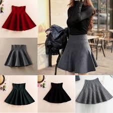 <b>Korean Style Fashion Women</b> High Waist Plain Pleated <b>Skirts</b> ...