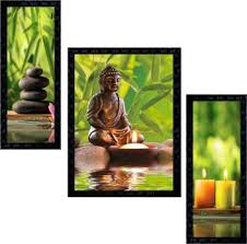 Janki Online Set of 3 Lord <b>Buddha Modern</b> Art Glass Framed <b>Wall</b> ...
