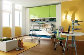 fresh and spacious kids bedroom design concept with green and white children bedroom lighting