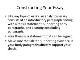 writing the analytical essay what does it mean to analyze  constructing your essay like any type of essay an analytical essay consists of an introductory