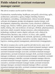 top  assistant restaurant manager resume samples       fields related to assistant restaurant manager