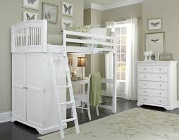 image of charming bedroom set with desk close to aluminum bunk bed ladder and built in colored corner desk armoire