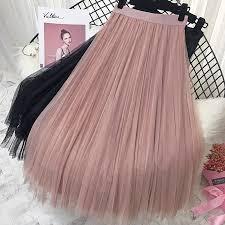 <b>2019 Spring Summer</b> Vintage Skirts Womens Elastic High Waist ...