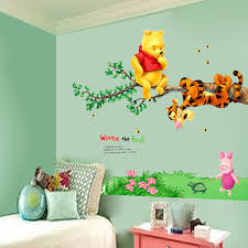 animal cartoon bear tiger tree bee wall stickers for kids room home decoration decals wallpaper nursery baby nursery cool bee animal