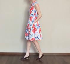 spring <b>summer</b> tricolor floral sleeveless <b>stand</b> collar garden party <b>dress</b>
