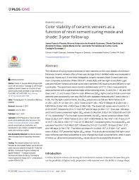 (PDF) <b>Color</b> stability of <b>ceramic</b> veneers as a function of <b>resin</b> ...