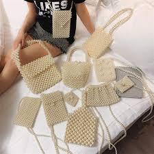 luxury hand woven pearl bag shiny brand women handbag bride