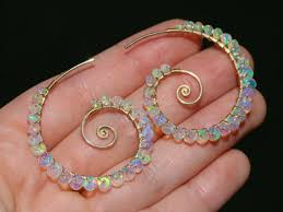 The Sea <b>Shell Earrings</b> – Ethiopian Opal Wire Wrapped Spiral Hoop ...