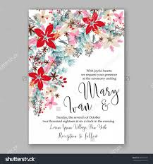 wedding invitation card template winter bridal bouquet wedding invitation card template winter bridal bouquet poinsettia christmas party invitation wreath poinsettia pine branch fir tree needle