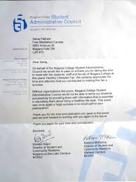 appreciation letter from student council for meditation appreciation letter from niagara college 2013