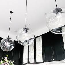 three lamps decoration black kitchen clear glass globe pendant light all metal material hanging wire shine black glass globe pendant