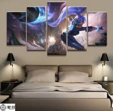 <b>5 Panel LOL League</b> of Legends Lux Game Canvas Printed Painting ...