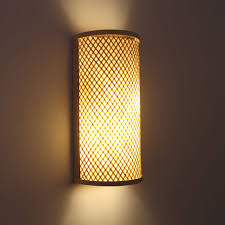 japanese style hand knitted bamboo bedside wall lamp hallway light wall mounted lamparas apliques pared e27 bamboo lighting fixtures