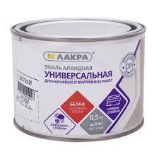 <b>Эмаль алкидная универсальная</b> Lakra, 0,5 л, белая матовая ...