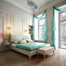 contemporary bedroom decorating with light blue curtain glass window as well wooden floor along with white blue white contemporary bedroom interior modern