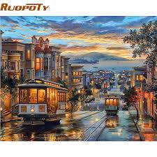 RUOPOTY Frame City Night Bus <b>Diy Oil Painting By</b> Numbers ...