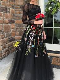 <b>2 Pieces Black</b> Lace Top Floral Tulle Prom Dresses, Newest Prom ...