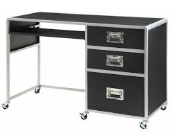 black silver finish metal computer desk with 3 drawers black metal computer desk