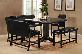 black kitchen dining sets: black kitchen table set square table and fur rug