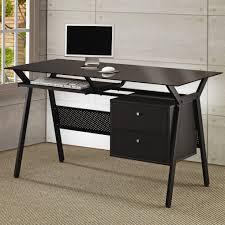 coaster black desks metal and glass computer desk black metal computer desk