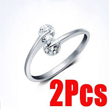<b>2Pcs Simple</b> Silver Crystal Opening Wedding Ring Rhinestone 925 ...