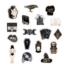 Fashion <b>Black Enamel</b> Pin <b>Skeleton</b> CD <b>Skull Palm</b> Totem Book Girl ...