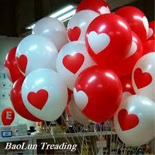 <b>30pcs</b> / <b>lot</b> 12 inch thick <b>2.8 g</b> round red white love wedding balloons ...