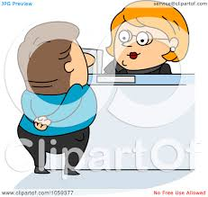 royalty vector clip art illustration of a bank teller royalty vector clip art illustration of a bank teller assisting a customer by bnp design studio