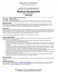 medical front desk receptionist job duties hostgarcia office assistant job description sample recentresumes com