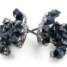 authentic rare chanel black crystal stud cc ruthenium piercing earrings authentic black crystal