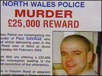 Reward poster for Paul Savage murder. The Royal Mail has offered a reward to trace the killer - _40361431_savageposter_203