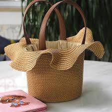 <b>Handmade</b> Beach Bag <b>Straw</b> Totes Bag Lace hat shaped Summer ...