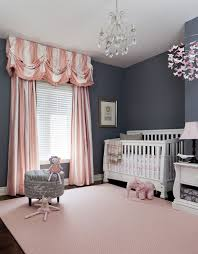 pink stripes fabric curtain with baby nursery ba room wallpaper border