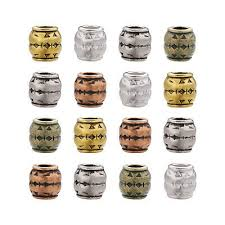 <b>100pcs</b> Tibetan Carved Barrel <b>Metal</b> European Beads Large <b>Hole</b> ...