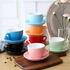 <b>2Pcs</b> Simple <b>Solid</b> Color Ceramic Coffee Cup And Saucer Set ...