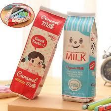 Fashion PU Simulation Milk Cartons <b>Pencil Case</b> Kawaii Stationery ...