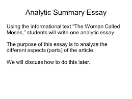writing portfolio mr butner writing portfolio due date analytic summary essay using the informational text the w called moses students will write one